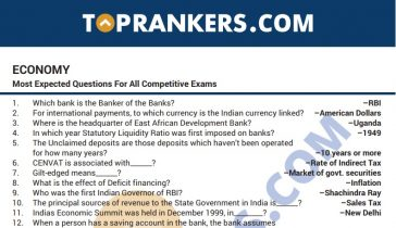 Indian Economy Questions Answers PDF for Competitive Exams