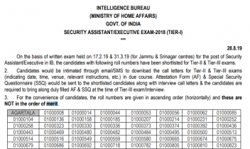 IB Security Assistant Result 2018: Check Assistant & Executive Tier 1 Result