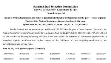 HSSC JE Result 2019 Out: Check Junior Engineer Merit List