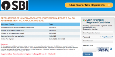SBI Clerk Application Form 2020