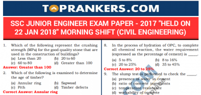 Download SSC JE Previous Year Question Paper FREE PDF Here