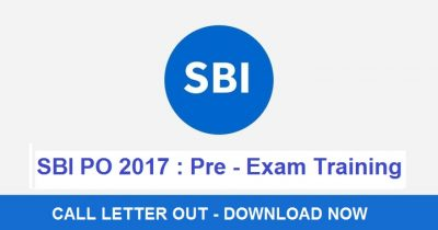 SBI PO Admit Card 2017 For Pre Examination Training : Download Now