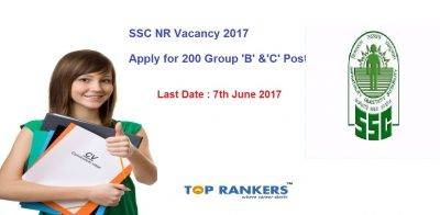 SSC NR Recruitment 2017 – Group 'B' & 'C' Posts