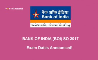 Bank of India SO 2017 Exam Date Announced