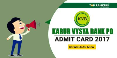 Karur Vysya Bank PO Admit Card 2017 Out