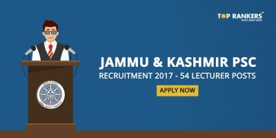 JKPSC Recruitment 2017 for 54 Lecturer Posts