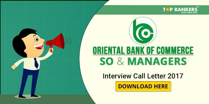Oriental Bank Of Commerce SO and manager Interview Call letter 2017 download here