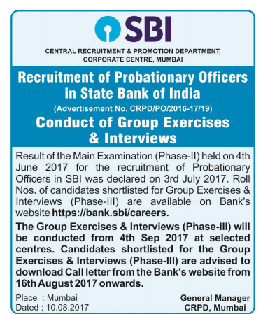 SBI PO 2017 Official Interview Notice out