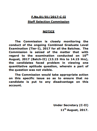 SSC Notice 11th august