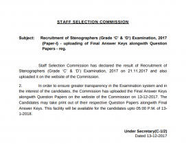 Notice Released by SSC regarding SSC Stenographer Grade C & D Answer Key