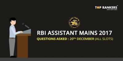 RBI Assistant Questions Asked 20th December 2017