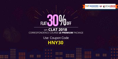 CLAT New Year Offer- Get FLAT 30% off: Amazing Discounts on 2018 Correspondence Course LE Premium Package