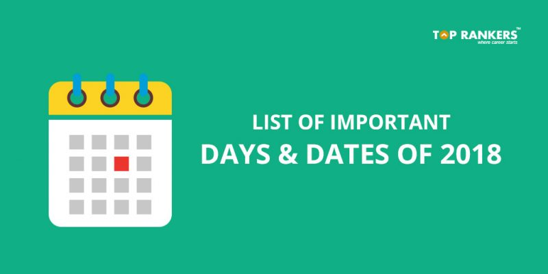 List of Important Dates for 2018