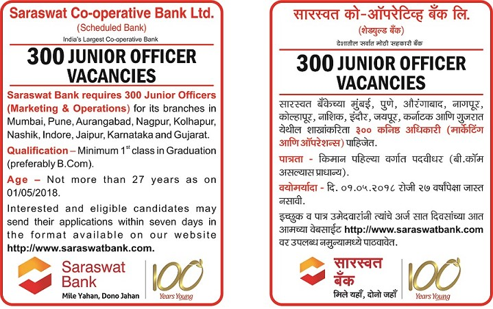 Saraswat Bank Recruitment 2018