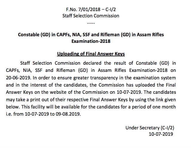 SSC GD Constable Answer Key PDF- Final Answer Key