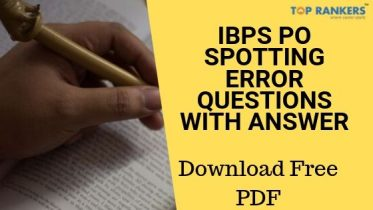 IBPS PO Spotting Error Questions With Answer PDF Download