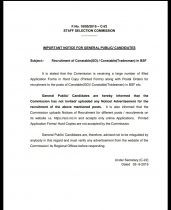 SSC GD Constable Application Form 2019 – SSC Released Notice for Fake Applications