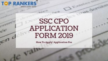 SSC CPO Application Form for SI & ASI 2019