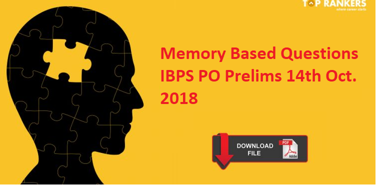Memory based IBPS PO Question Paper 14th October 2018 with Solution
