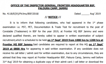 Final BSF Constable Result PDF for Tradesmen Released!