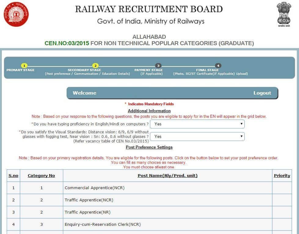 post preference in rrb ntpc