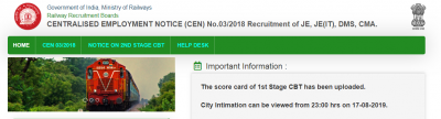 RRB JE CBT 2 Admit Card 2019 be announced on 24th August
