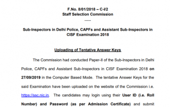 SSC CPO Answer Key (Final) 2018-19 Released