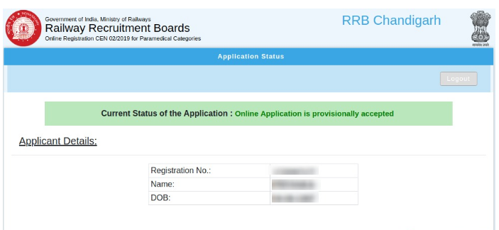RRB Paramedical Application Status