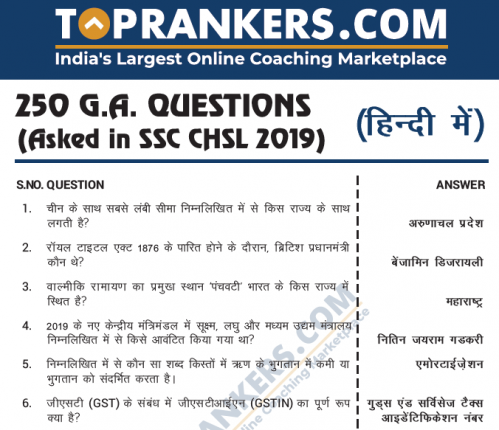 500 GA Questions Asked in SSC CHSL