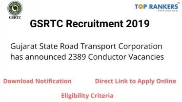 GSRTC Recruitment 2019 – Apply for 2389 Conductor Vacancies