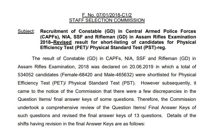 SSC GD Constable Result 2019: Check PST/PET Revised Result