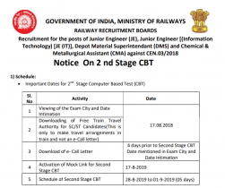 RRB JE Exam Dates 2019: Check CBT 2 Exam Schedule