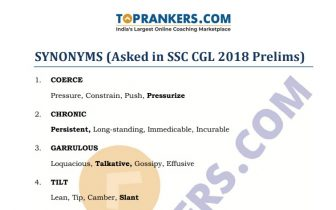 SSC CGL Synonyms Questions Asked PDF Download