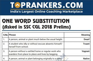 SSC CGL One Word Substitution Questions Asked PDF Download