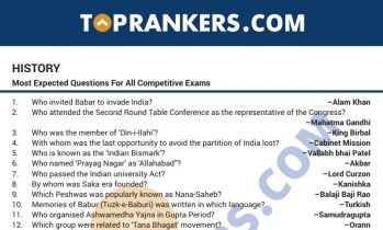Indian History Questions and Answers PDF for Competitive Exams