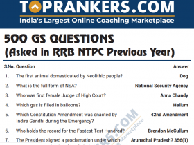 500 GS Questions for RRB NTPC – Study Material PDF (Topic-wise)