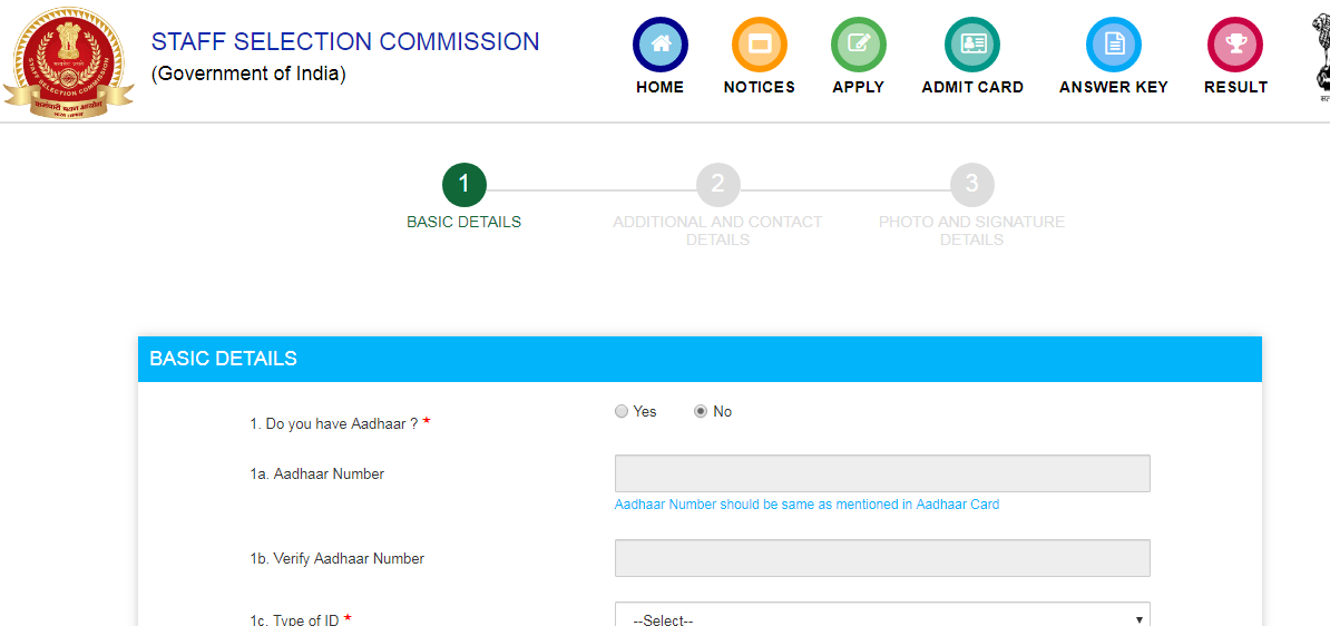 SSC Selection Post Application Form