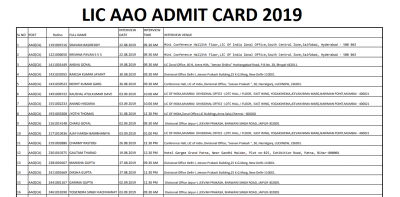 LIC AAO Admit Card 2019 (Interview) – Download Link