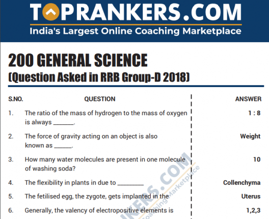 RRB Group D GS Questions 2018 Download General Science PDF Here