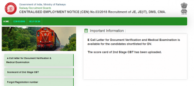 RRB JE Admit Card 2019 for Document Verification/Medical Exam Out