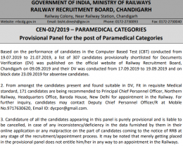 RRB Paramedical Result Released – Check Final List of Shortlisted Candidates