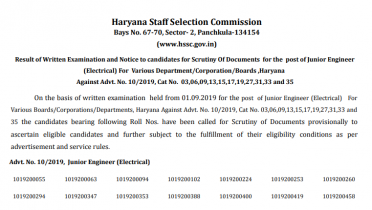 HSSC JE Result 2019 Out: Check Junior Engineer Merit List