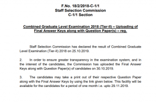 SSC CGL Answer Key 2018: Download Final Tier 2 Answer Key Here