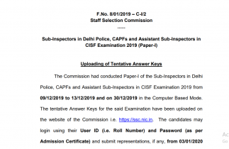 SSC CPO Answer Key 2019 Released – Download here