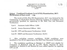 SSC CGL Final Result 2017-18 Out Now
