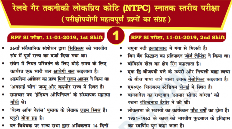 RRB NTPC Previous Year Papers and Questions