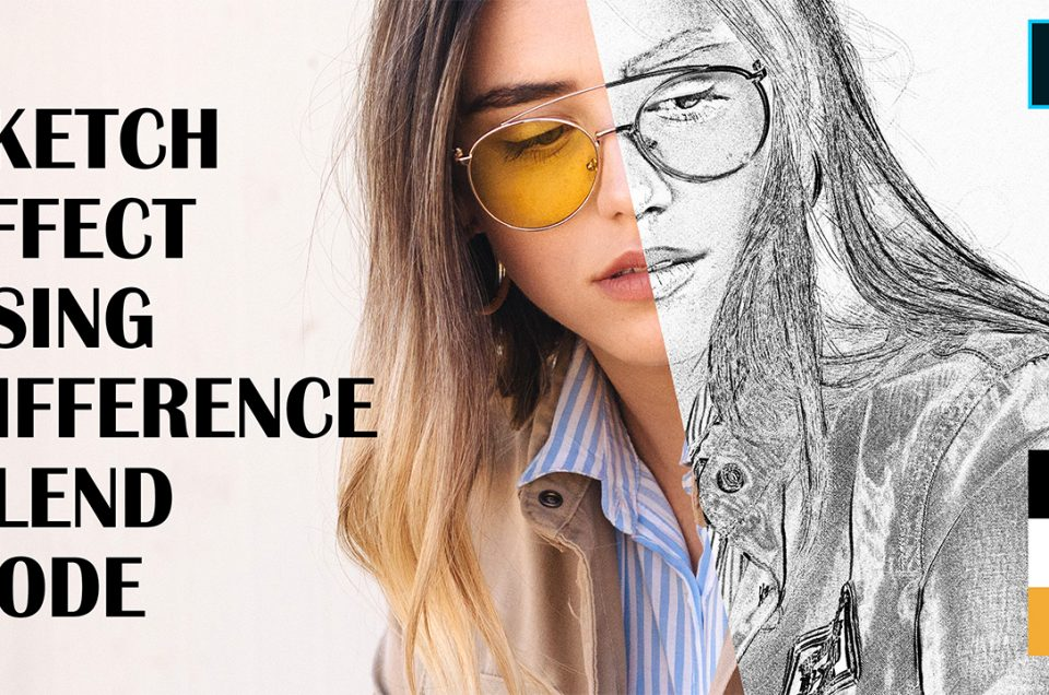 Difference Blend Mode - Sketch Outline Effect in Adobe Photoshop CC 2019