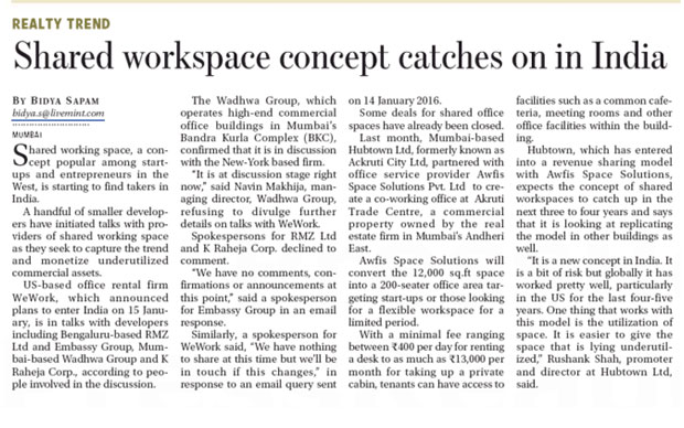 Shared workspace concept catches on in India